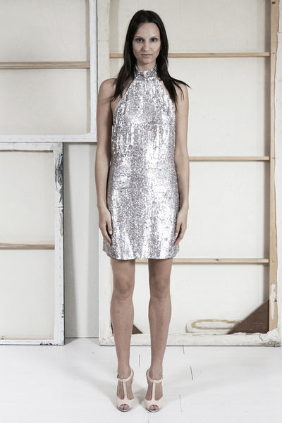 Nora Sequin Halter Dress by Brose - RENTAL