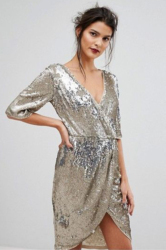 Anna Sequin Wrap Dress By Tfnc London Rental The Fitzroy