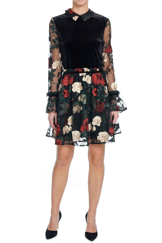 Simmons Velvet Floral Applique Dress by GANNI - RENTAL