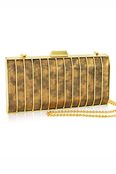 Sonia Gold Caged Clutch by Inge Christopher - RENTAL