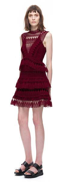Teardrop Guipure Lace Mini Dress by Self Portrait - RENTAL