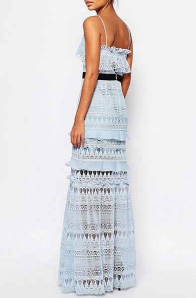 Teardrop Pale Blue Maxi by Self Portrait - RENTAL