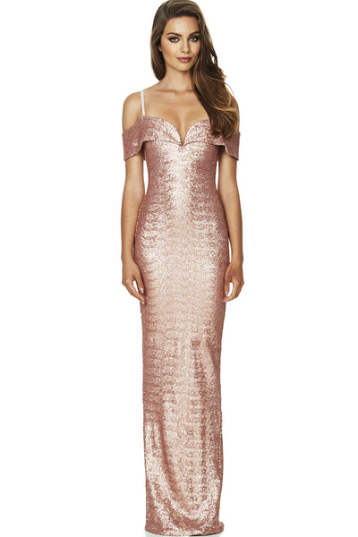 Rosegold sequin nookie gown for rent, The Fitzroy, Toronto