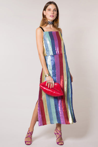 Tessa Sequin Rainbow Midi Dress by Rixo London - RENTAL