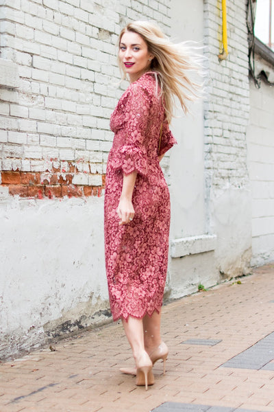 Theodora Midi Dress in Rosie by For Love and Lemons - RENTAL