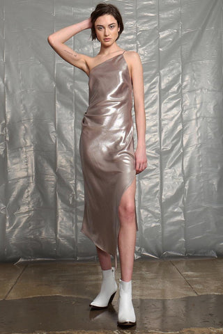 Silver Slip Dress by Allen Schwartz
