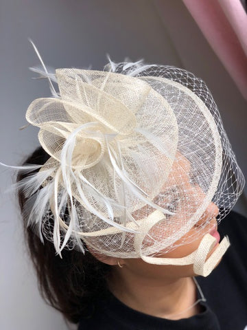 Arlington White Fascinator - RENTAL