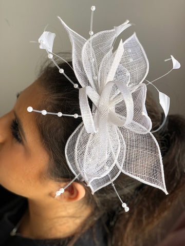 Mother of Pearl White Fascinator - RENTAL