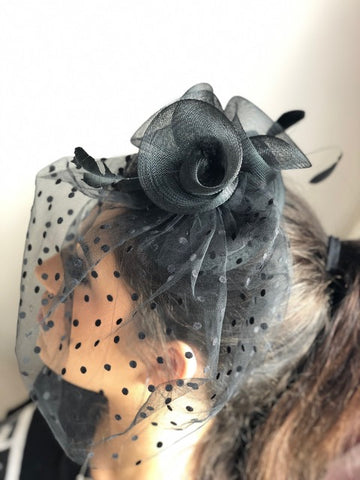 Elvira Black Fascinator - RENTAL