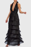 Anjelica Tiered Gown in Black by Forever Unique - RENTAL
