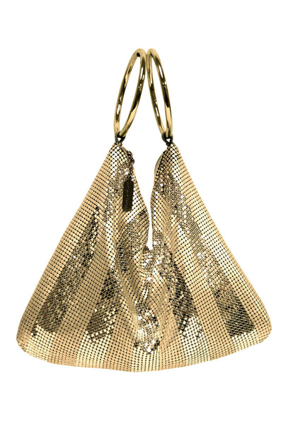two tone striped metal meash bracelet bag in gold from whiting and davis