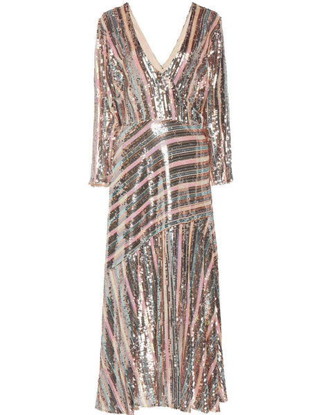 Tyra Sequin Stripe Midi Dress by Rixo London - RENTAL