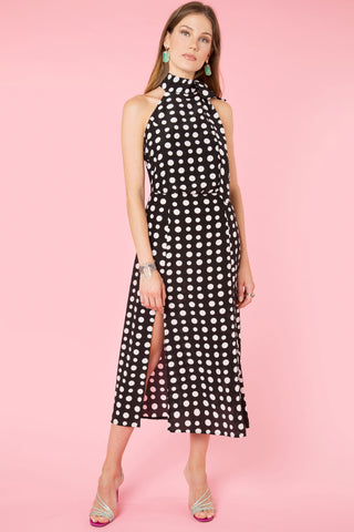 Valerie High Neck Polka Dot Midi Dress by Rixo London - RENTAL