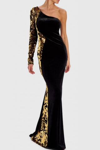 43253626934b Elita Velvet Sequin Gown by Forever Unique - RENTAL