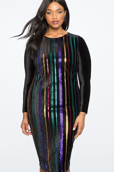 Over The Rainbow Sequin Velvet Dress - RENTAL