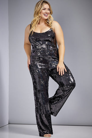Victoria Sequin Jumpsuit by Dress The Population - RENTAL