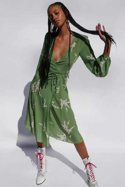 Violette Wrap Dress in Green by Realisation Par - RENTAL