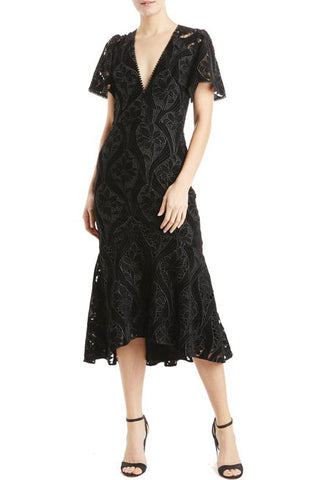 Virginia Velvet Contrast Midi Dress by ML Monique Lhuillier - RENTAL