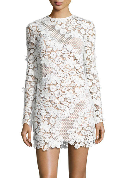 3D floral lace shift dress self portrait