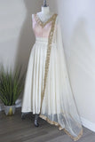 Dupatta Shawl in White & Gold by Dee Kapadiya - RENTAL