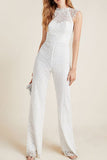 White Lace Cap Sleeve jumpsuit Monique L'hullier