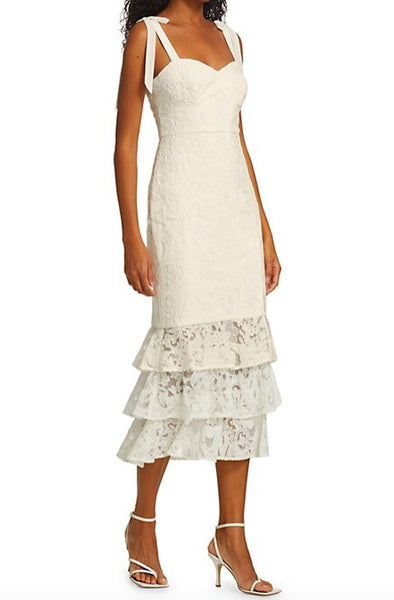 Abigail White Midi Dress by ML Monique L'huillier - RENTAL