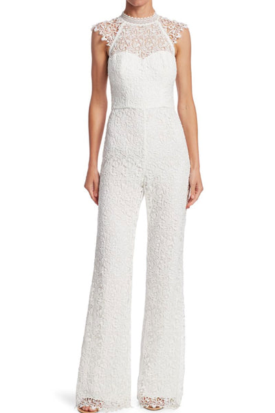 Cap sleeve white lace jumpsuit ML Monique Lhullier