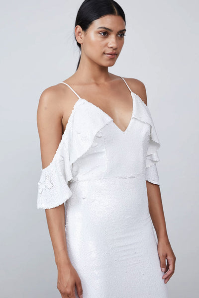 Audrina White Sequin Midi Dress by Allen Schwartz - RENTAL