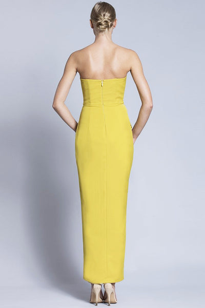 Madison Mustard Strapless Gown by Bariano - RENTAL
