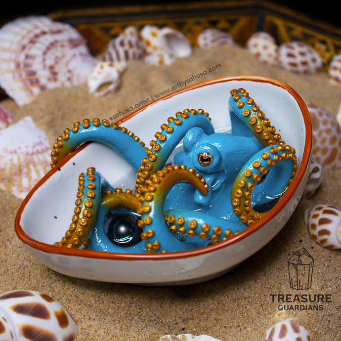 BERYL - Teal and Gold Octopus Sculpture