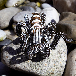 JUNE - Rainbow Reef & Larger Pacific Striped Octopus Sculpture (OOAK)