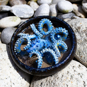MARLIN - Webbed Blue and Pearl White Octopus Sculpture