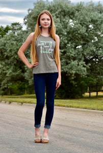 F-F Mint/Gray Muscle Tank