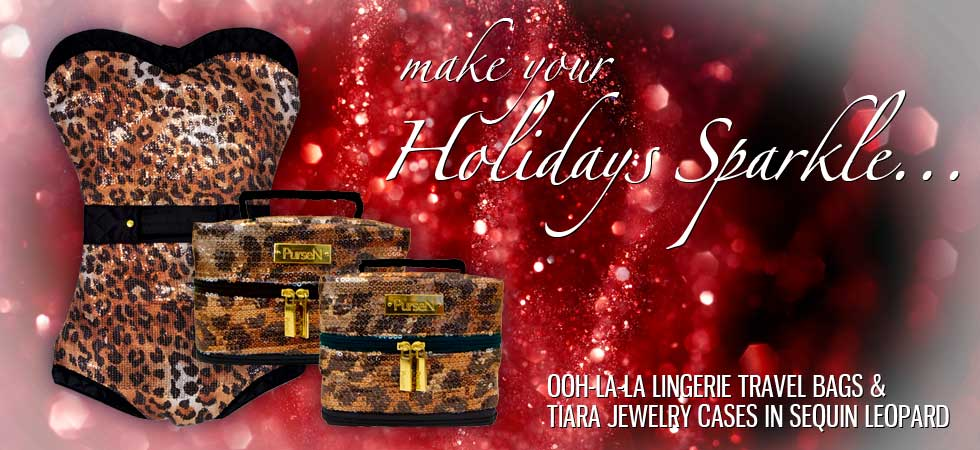 Ooh-La-La Lingerie Travel Bags and Tiara Jewelry Cases in Sequin Leopard for the Holidays