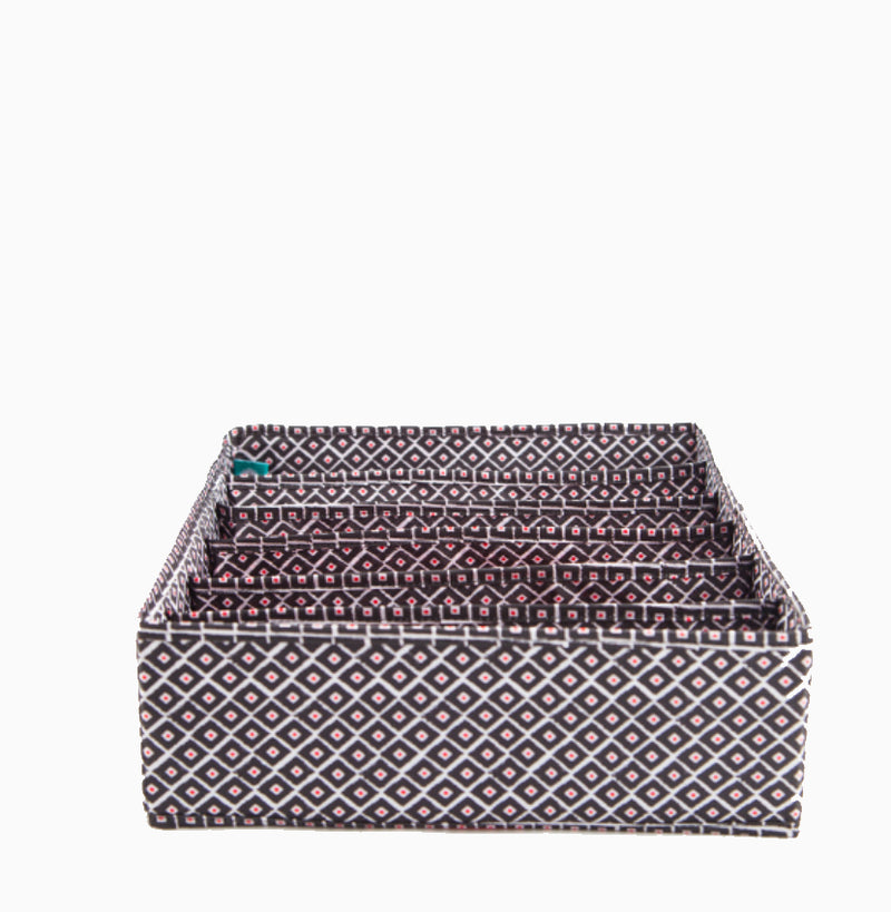 In Chic Bra Drawer Organizer - Red Ikat
