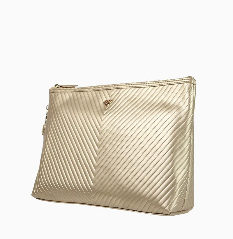 Getaway Large Makeup Case - Gold