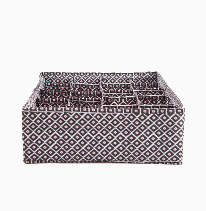 In Chic Panty & Sock Drawer - Ikat Black & Red