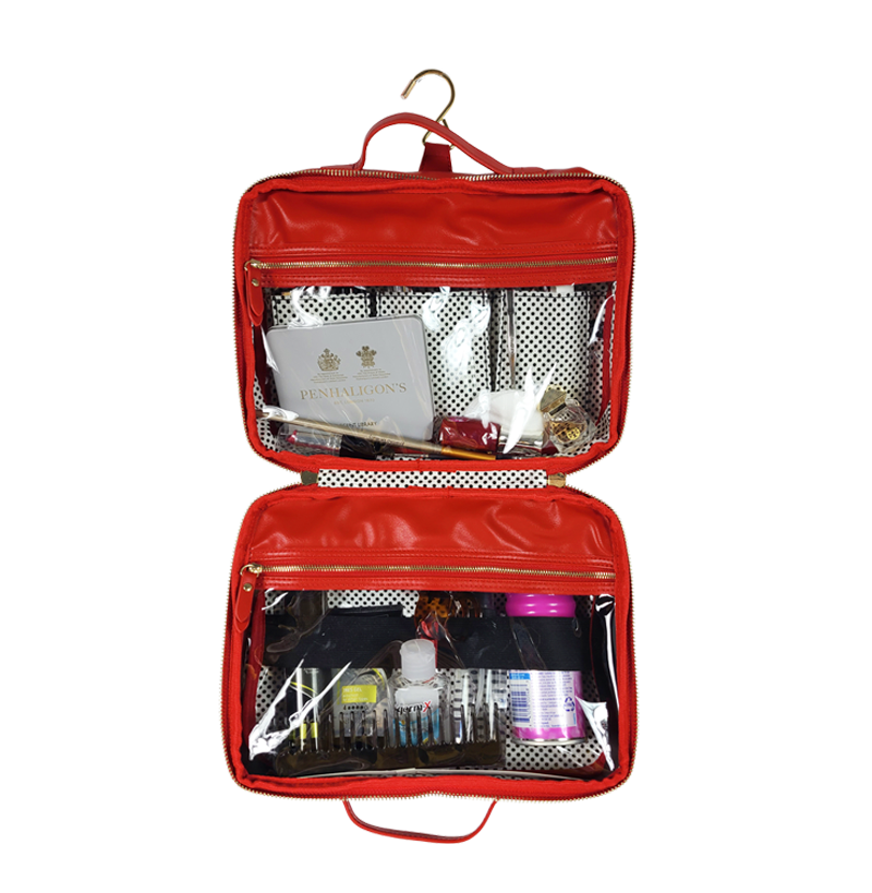 Getaway Liea Toiletry Case - Red/Polka Dot Liner
