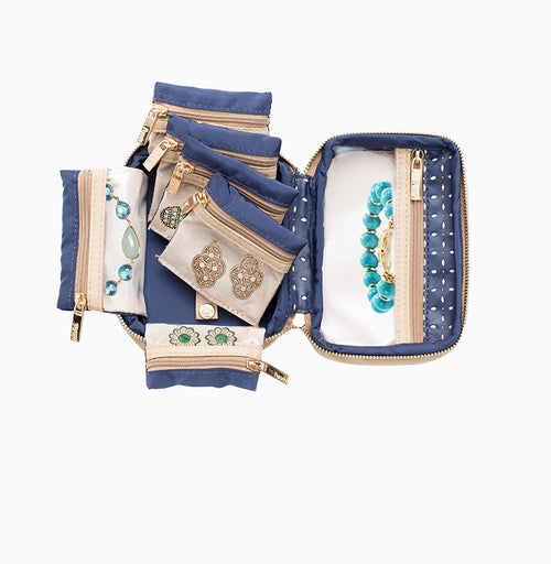 Tiara Mini Jewelry Case - Blue Dunes