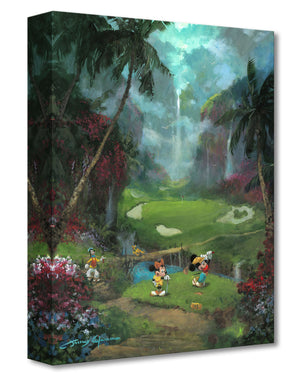Mickey, Minnie and Goofy playing golf in the middle of the lush green landscape in Hawaiian island.