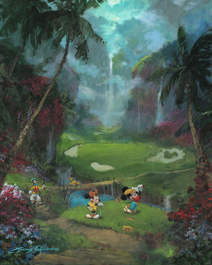 Mickey, Minnie and Goofy tee off on the golf course.