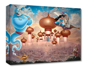 Aladdin and Princess Jasmine flying on the magic carpet over the Agrabah's Kingdom, as the blue Genie and Abu watch.