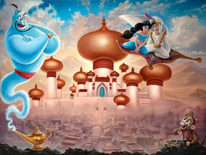 Aladdin and Princess Jasmine flying on the magic carpet over Agrabah's Kingdom, as the blue Genie and Abu watch.