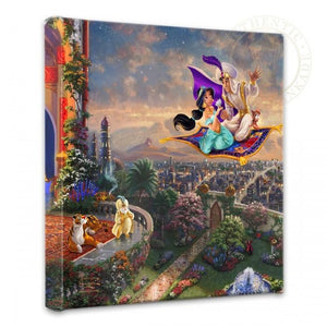 Aladdin and Jasmine soar above Agrabah and the surrounding kingdom on a magic carpet ride, as the Sultan of Agrabah and her over protective pet tiger Rajah watch.
