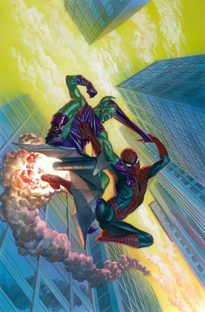 """ALONG CAME A GOBLIN"" Features: The cover of The Amazing Spider-Man #798, depicts Spider-Man and the Green Goblin engaging in a fierce battle high above New York City. Limited Edition Giclee Canvas. Artist: Alex Ross"