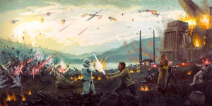 Chewbacca, Han Solo, and the Storm Troopers in battle on Takodana.