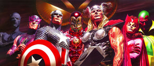 A dynamic illustration by Alex Ross celebrating Marvel's Avengers! Features - Black Panther, Hawkeye, Captain America, Iron Man, Thor, Scarlet Witch, the Vision, Goliath, and Wasp and all superheroes have come together to pledge their allegiances.