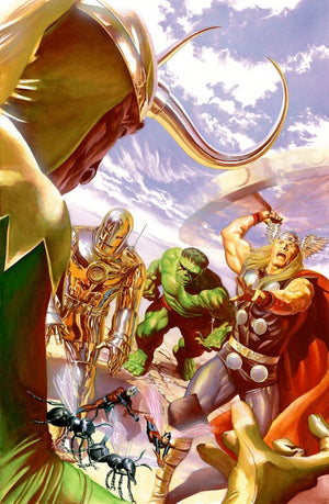 """Avengers #1 Variant Cover"", Features: Gathering of the Avengers, Iron-Man, Hulk, Thor, Ant-Man more...Edition Size:100, Limited Edition Elegance Velvet Canvas. Artist: Alex Ross"