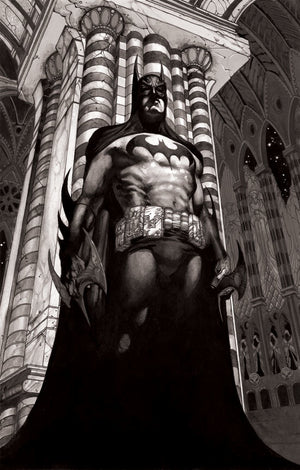 Batman standing tall, hand to his side, ready to fight evil.