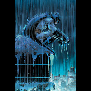 Batman sitting in the rain.